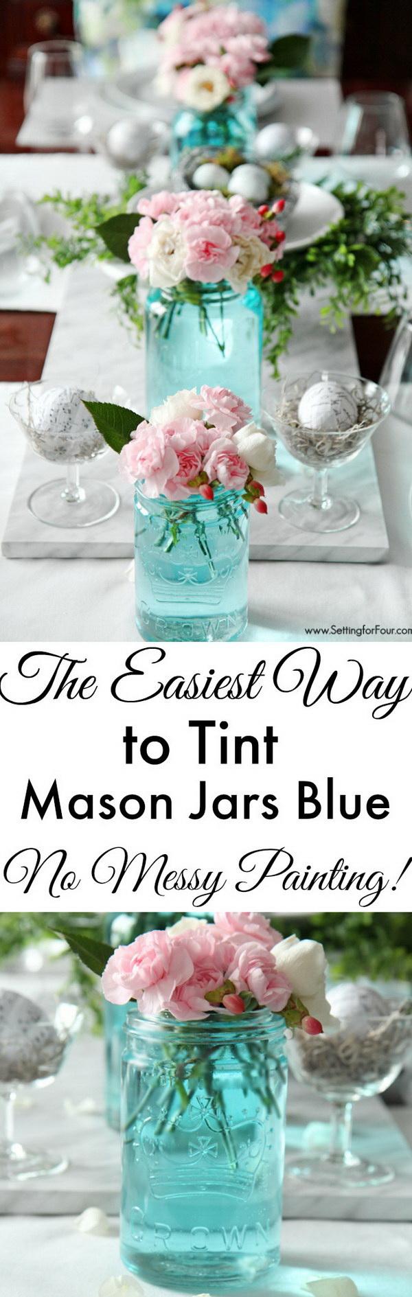 Beautiful Tint Mason Jars Blue for Wedding Decor.
