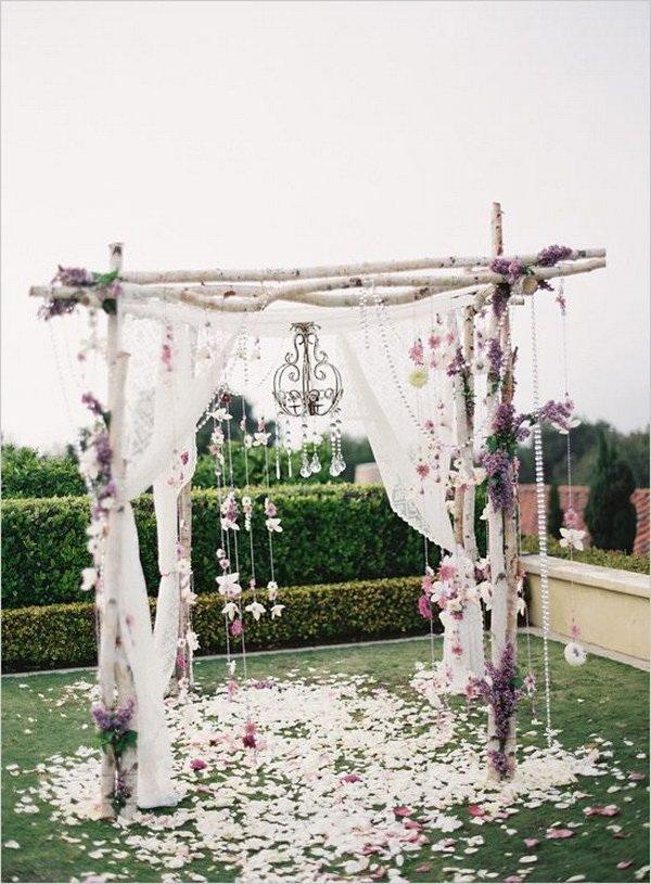 Shabby Chic Birch Tree Wedding Arch.