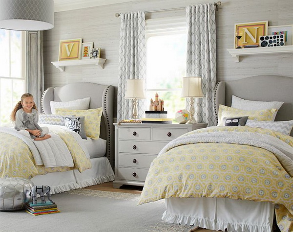 Charming, contemporary and just a little bit luxe with yellow and grey color scheme. Perfect shared bedrooms for two girls.