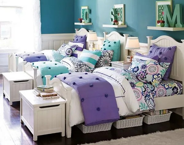 7 Inspiring Kid Room Color Options For Your Little Ones: Pretty Shared Bedroom Designs For Girls