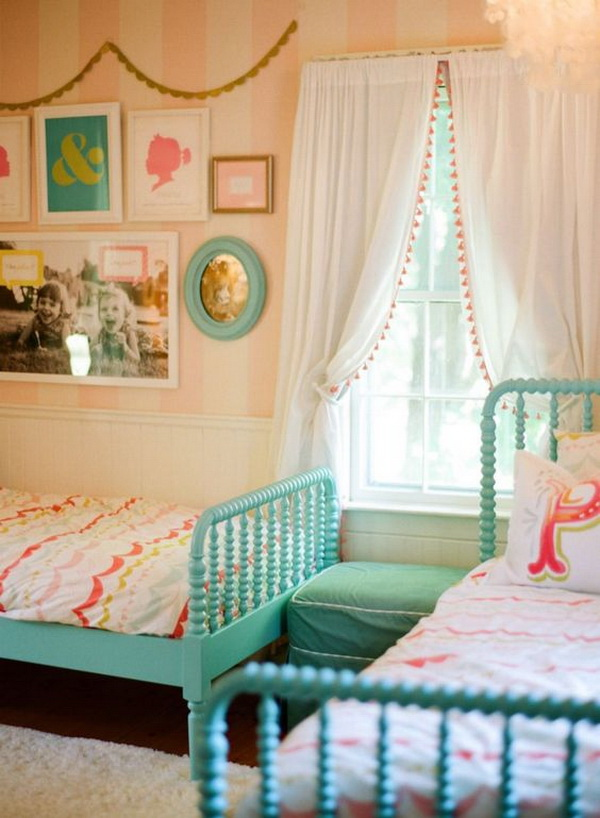 Girly Shared Bedroom Decorating Ideas With Turquoise Beds And Pom Pom  Trimmed Curtains.