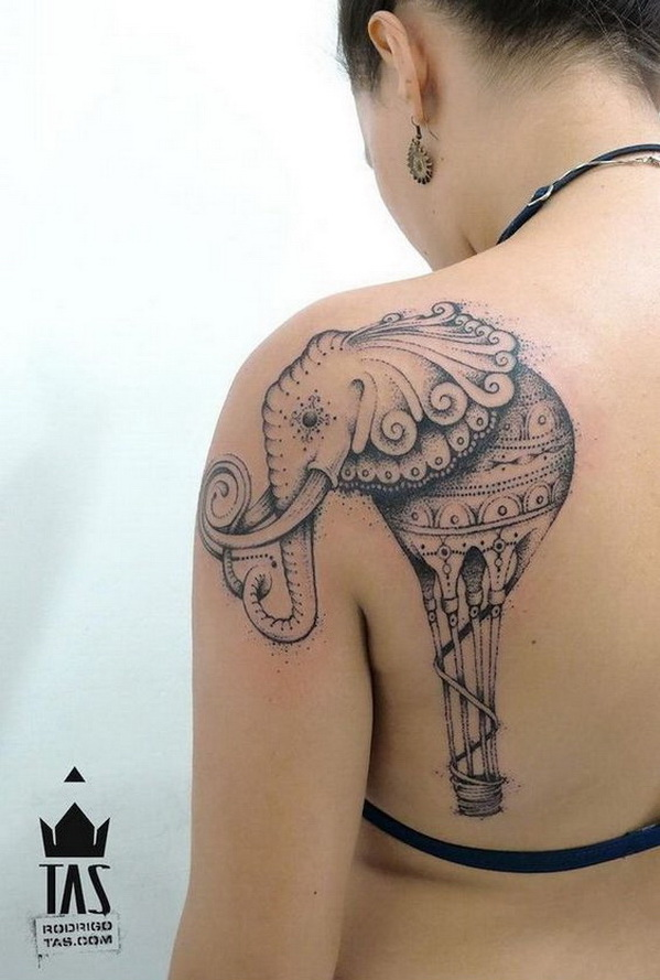 Elephant Tattoo on Back Shoulder.