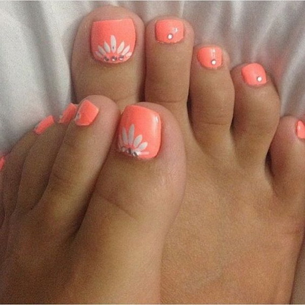 Coral Toe Nail with White Flowers on - 50+ Pretty Toe Nail Art Ideas - For Creative Juice