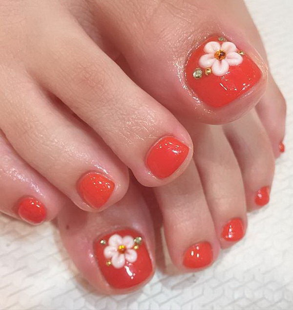 Flowers and Rinestones Accented Toe Nail Design - 50+ Pretty Toe Nail Art Ideas - For Creative Juice