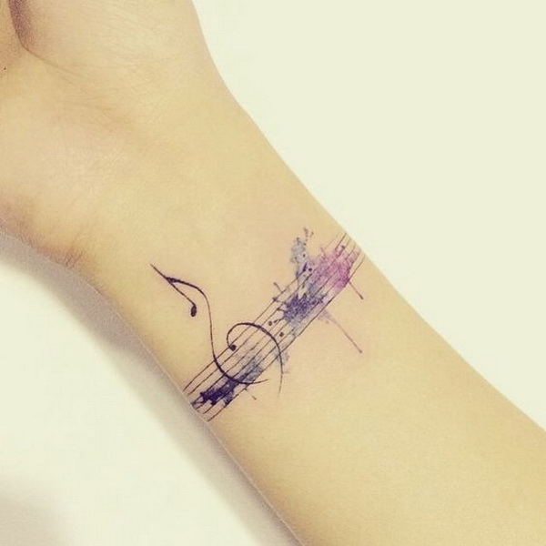Music Inspired Watercolor Tattoo Design.