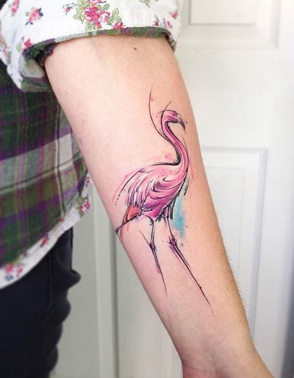 Watercolor Flamingo Arm Tattoo.