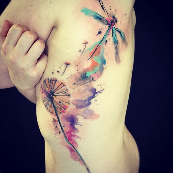 Watercolor and Dragonfly Tattoo Design.