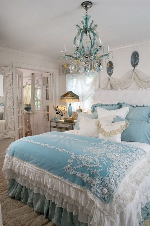 Captivating Soft Blue And White Shabby Chic Bedroom
