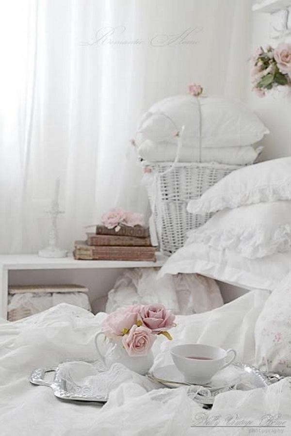 Romantic Shabby Chic White Pink Bedroom.
