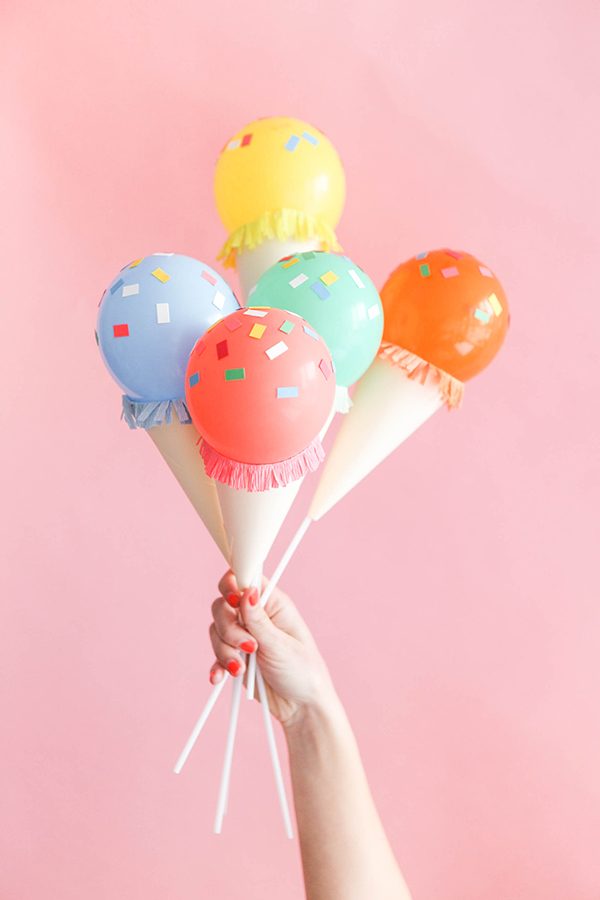 Mini Ice Cream Cone Balloon Sticks DIY.