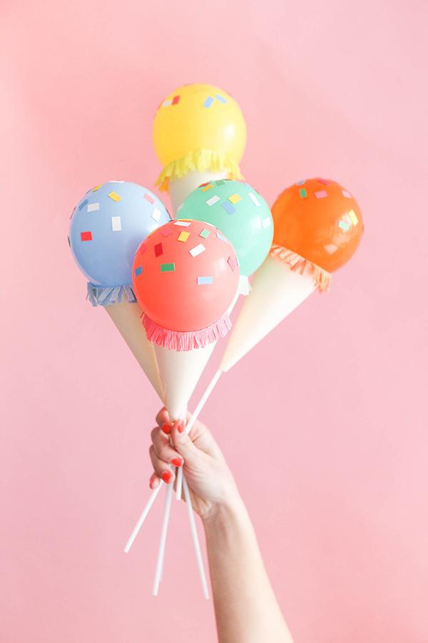 Mini Ice Cream Cone Balloon Sticks DIY.