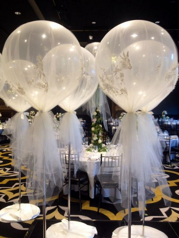 Giant Balloon Wrapped in Tulle.