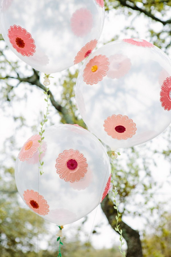 Paper Flower Decorated Balloons.
