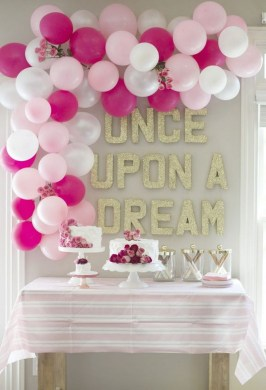50  Pretty Balloon Decoration Ideas   For Creative Juice Pink Themed Balloon Decoration for Birthday Party