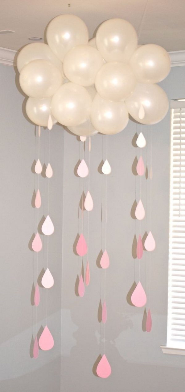 Balloon Decorated With Paper Raindrops for Baby Shower Decor.