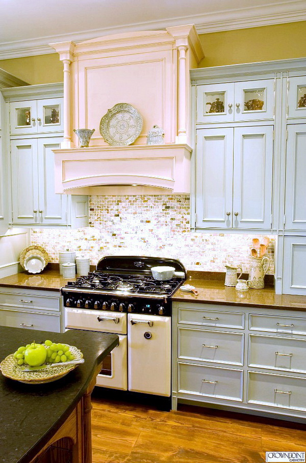 Pale Blue Cabinets Paired With Sparkly Subway Backsplash And A Hint Of Pink  Fireplace