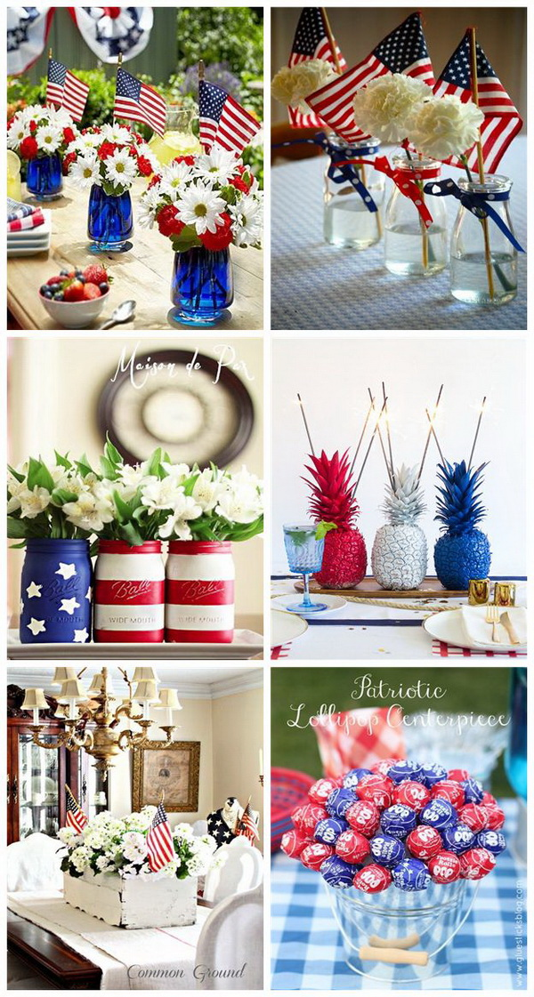 Festive Table Centerpiece for 4th of July.