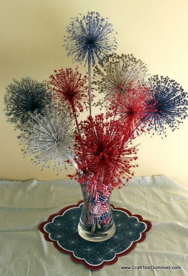 "Allium Dried Flower ""Fireworks"" Patriotic Centerpiece."