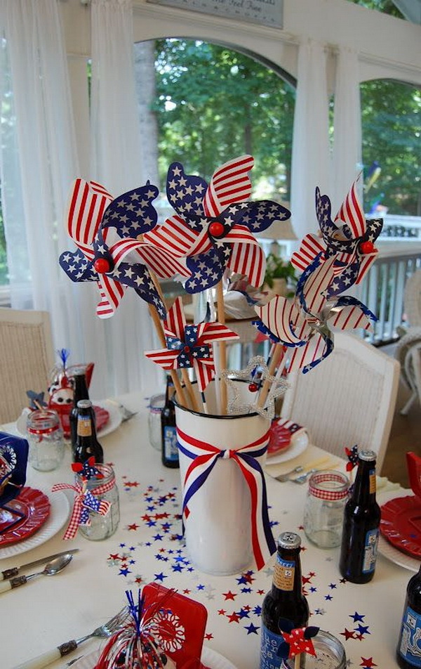 Get white metal container filled with red,white and blue pinwheels and finished with ribbon. So easy and fun for a national table decoration!