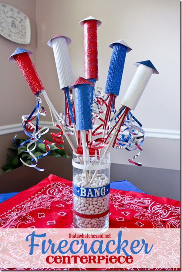 This festive Firecracker Centerpiece is perfect to add some 4th of July spirit to your home or to your picnic table next month!