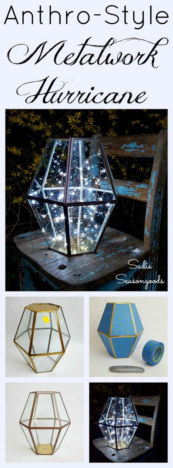 DIY Metalwork Hurricane. Repurpose an outdated vintage brass chandelier or light fixture into this DIY metalwork hurricane! A super easy lighting project that is perfect for your outdoor summer nights!