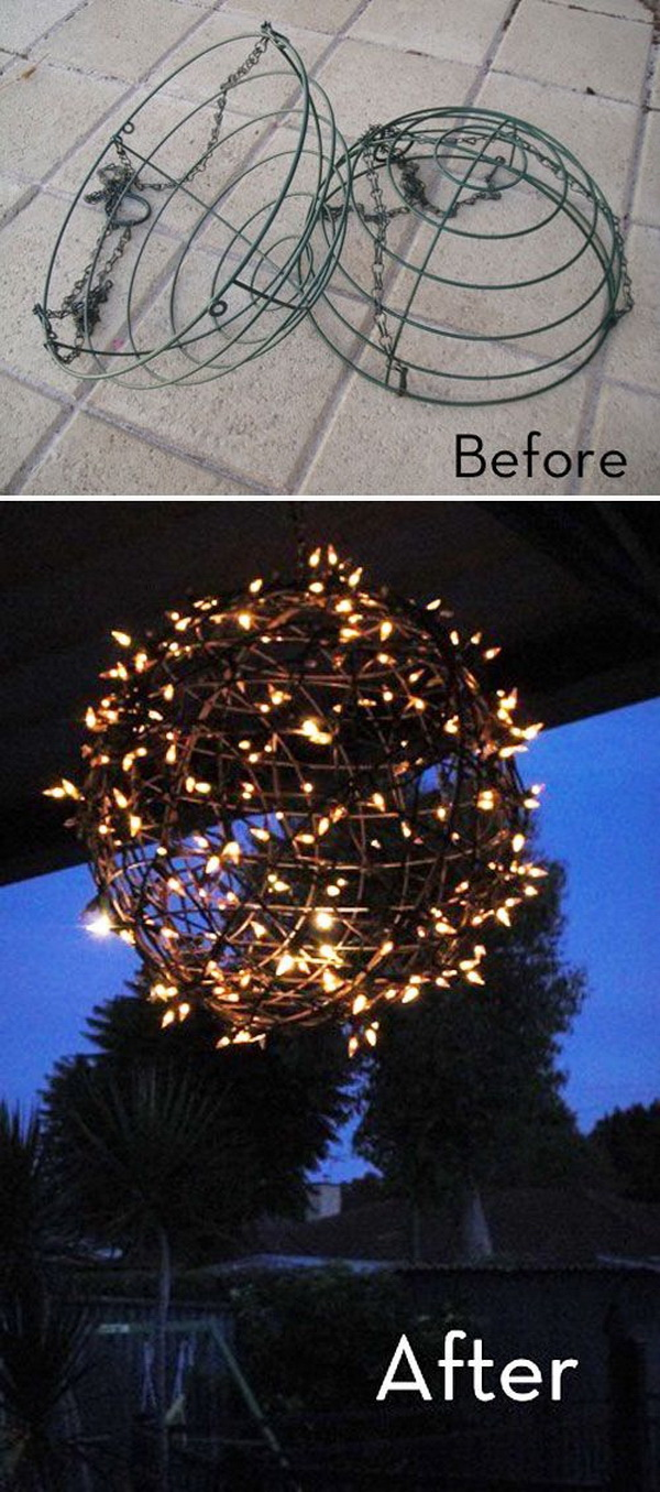 Fairy Light Globe Made with Wire Baskets. Turn the groddy wire hanging baskets into these stunning and fairy light globes for your outdoor this summer with several steps!