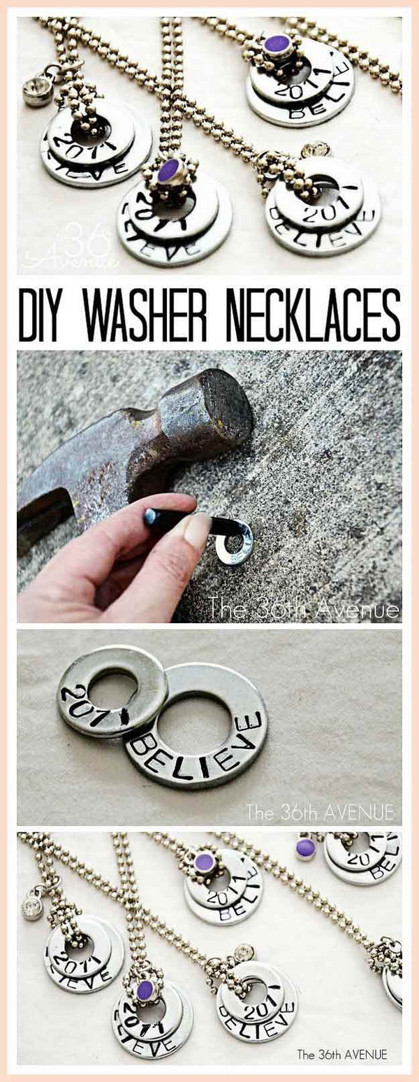 DIY Stamped Washer Necklaces. Simple and fun DIY necklace idea for teenagers to make!