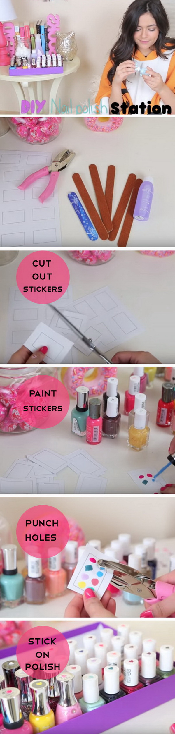 DIY Nail Polish Station. Easy access to your nail polish next time with this creative DIY!