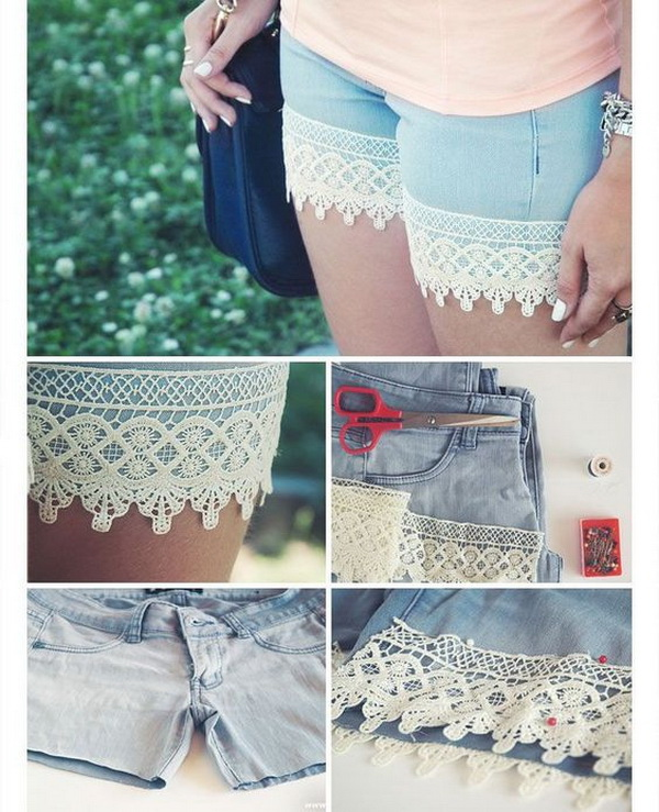 DIY Boho Lace Shorts from Old Trousers.