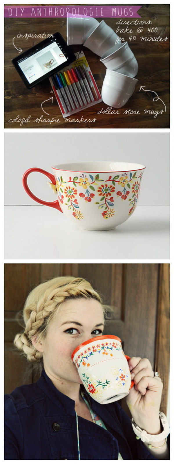 DIY Anthropologie Painted Coffee Mugs. Make your own version of this Anthropologie mug with sharpie markers in different colors. You can design it however way you want! Easy and fun to make!