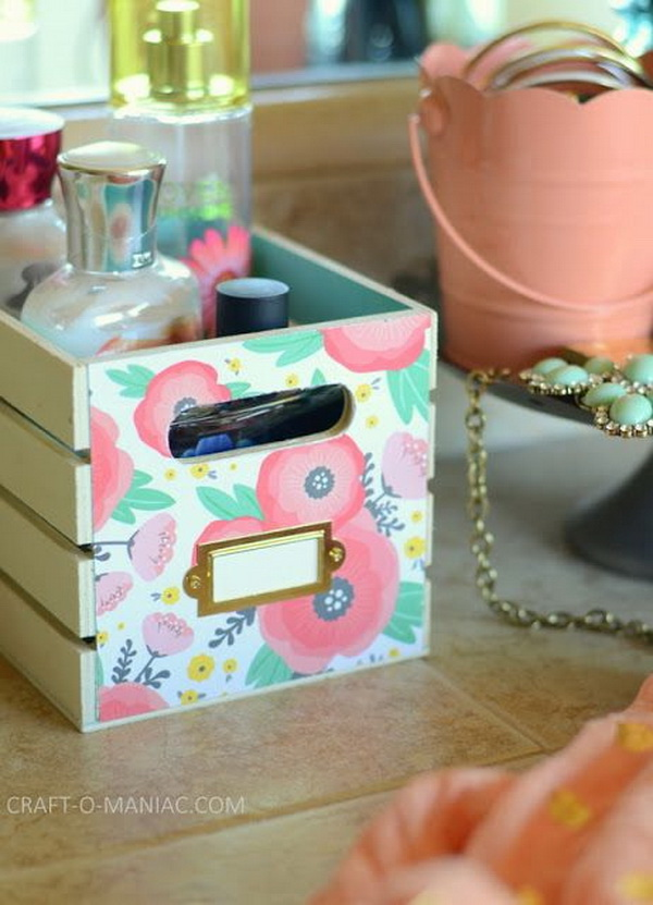 DIY Very Girly Beauty Station: This pretty bin is very easy and quick to make in a few steps. It makes a great storage solution for beauty products in a teen girl's bedroom.