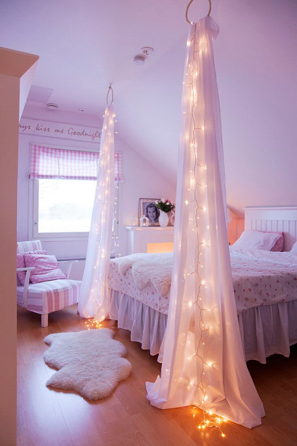 Starry Night String Light for Bed Decor: Simply string up your lights and a  couple