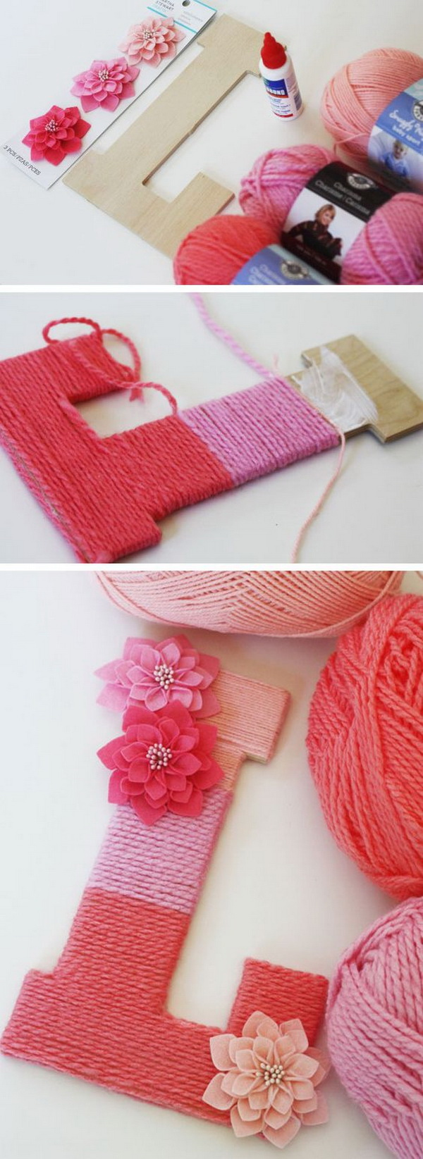 DIY Yarn Wrapped Ombre Monogram Letter: Make a decorative letter with leftover yarns. Would be a cute sign for your teen daughter's bedroom!