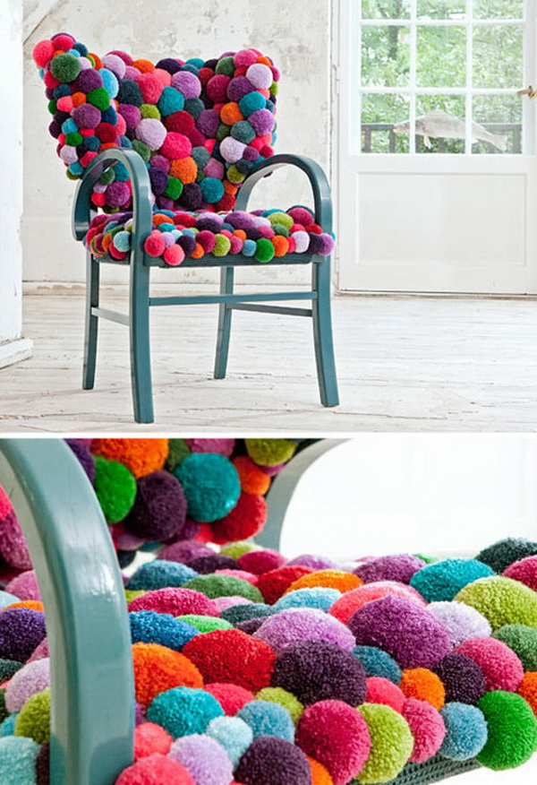 Colorful Pom Pom Chair: A colorful pom pom chair cushion like this one looks so comfortable and also adds more color to any home.