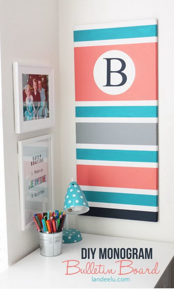 DIY Monogram Bulletin Board: Change a brown cork board into a custom Monogram Bulletin Board with just some paint and a little time! Perfect for a teen girl's room!