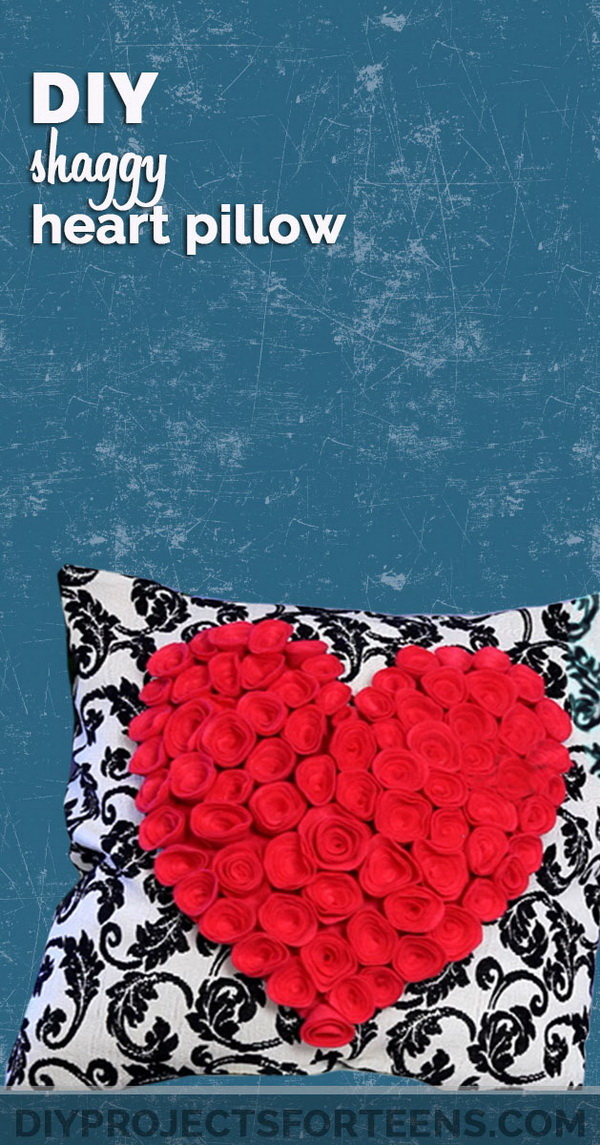 Shaggy heart pillow for a teenage girl's bedroom that you can make by yourself with some instructions!