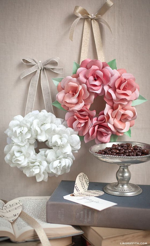 Mini Paper Rose Wreath: This mini paper rose wreath is so simple to make and create a gorgeous decoration for home decor.