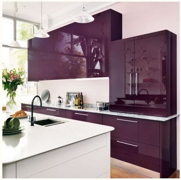 Royal Purple Kitchen Cabinet Paint Color Ideas.