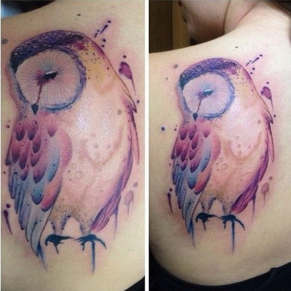 Watercolor Owl Tattoo on Back. More via https://forcreativejuice.com/attractive-owl-tattoo-ideas/
