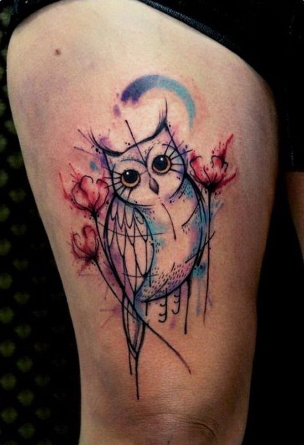 Watercolor Draft Owl Tattoo. More via https://forcreativejuice.com/attractive-owl-tattoo-ideas/