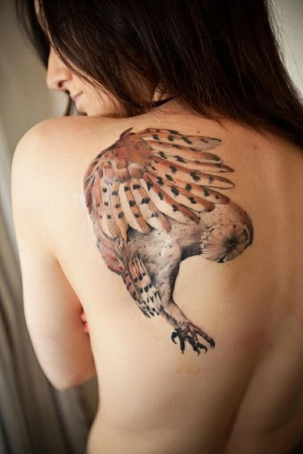 Original Flying Owl Tattoo On Left Back Shoulder. More via https://forcreativejuice.com/attractive-owl-tattoo-ideas/