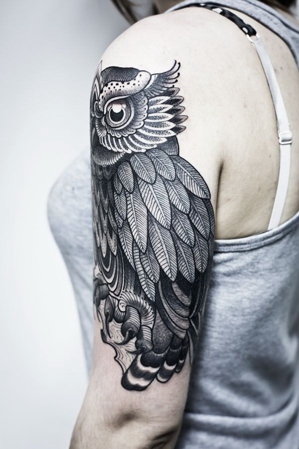 Black Owl Ink Tattoo. More via https://forcreativejuice.com/attractive-owl-tattoo-ideas/