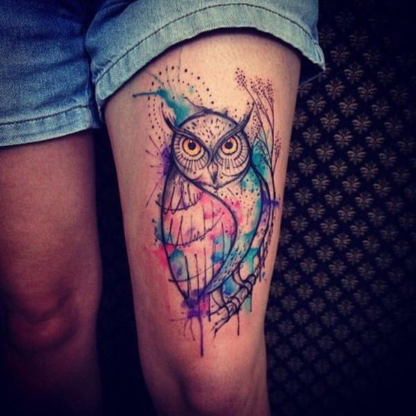 Watercolor Owl Tattoo on Thigh. More via https://forcreativejuice.com/attractive-owl-tattoo-ideas/