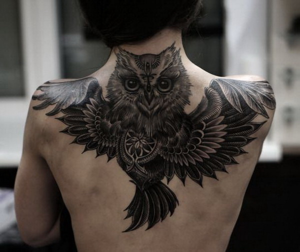 Full Black Owl Tattoo on Upper Back. More via https://forcreativejuice.com/attractive-owl-tattoo-ideas/