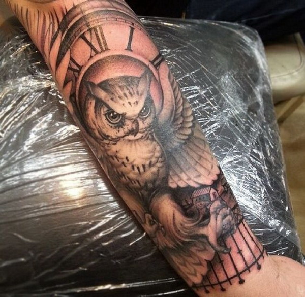 Owls and Clock Tattoo. More via https://forcreativejuice.com/attractive-owl-tattoo-ideas/