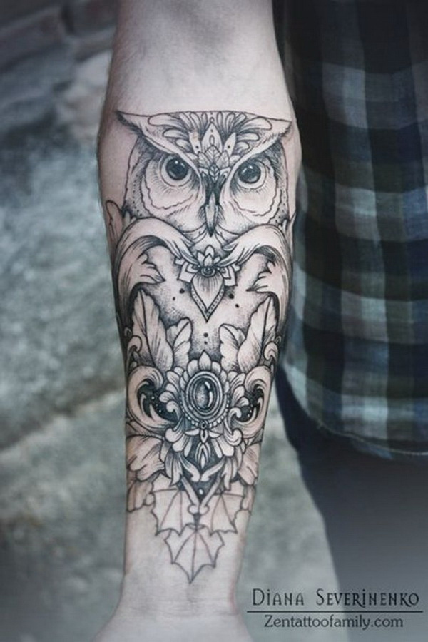 Forearm Tattoo with Owl Design. More via https://forcreativejuice.com/attractive-owl-tattoo-ideas/
