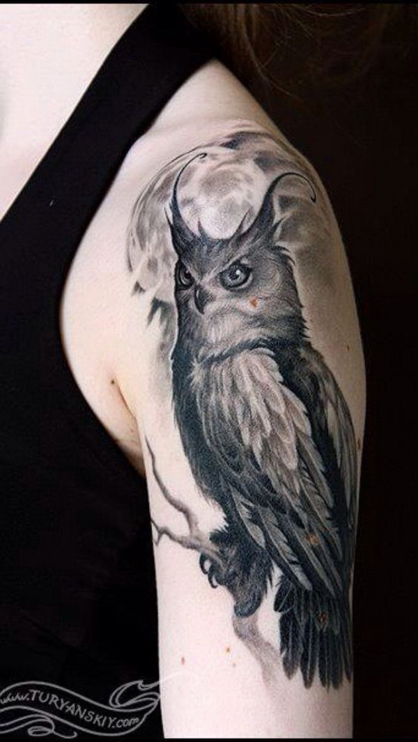 Gray Owl Tattoo Design Sleeve. More via https://forcreativejuice.com/attractive-owl-tattoo-ideas/