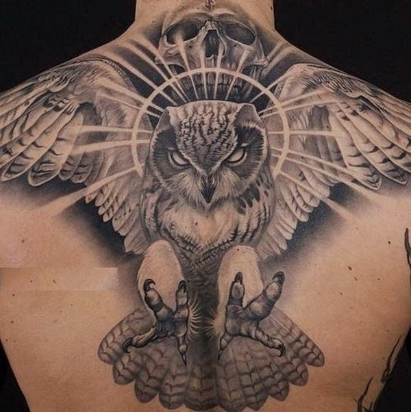 Flying Barn Owl Back Tattoo. More via https://forcreativejuice.com/attractive-owl-tattoo-ideas/