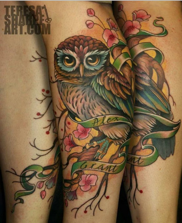 Owl and Cherry Blossom Tattoo. More via http://forcreativejuice.com/attractive-owl-tattoo-ideas/