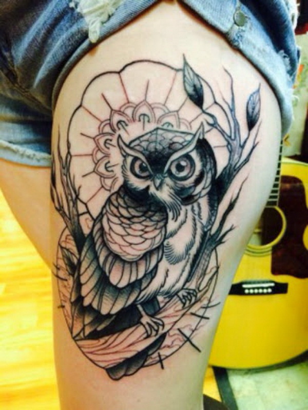 Beautiful Owl Tattoo for Thigh. More via https://forcreativejuice.com/attractive-owl-tattoo-ideas/
